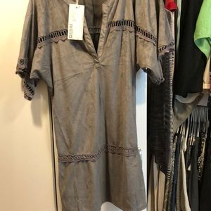 Miilla Clothing Dresses - Grey suede like dress